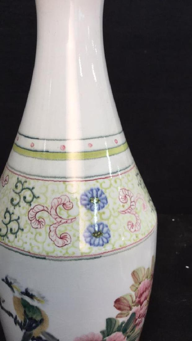 Asian Vase w Painted Birds and Florals - 5