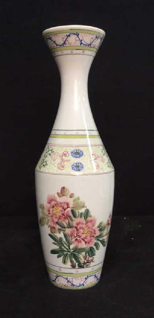 Asian Vase w Painted Birds and Florals - 6