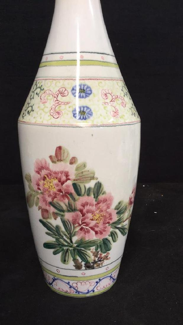 Asian Vase w Painted Birds and Florals - 7