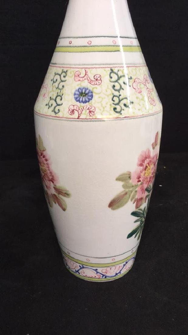 Asian Vase w Painted Birds and Florals - 8