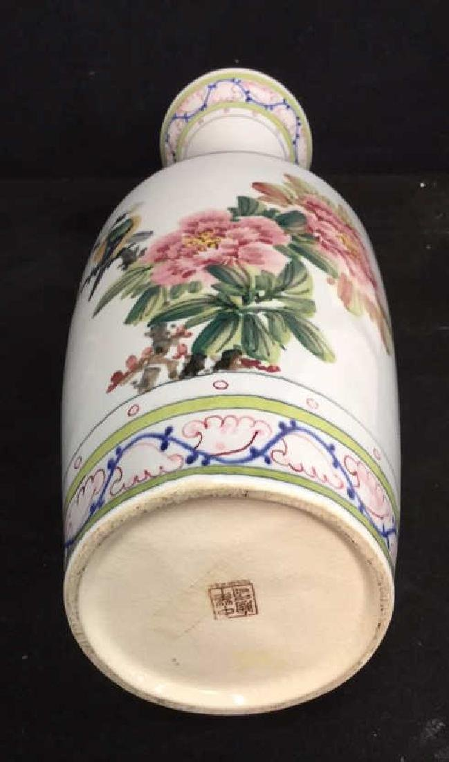 Asian Vase w Painted Birds and Florals - 9