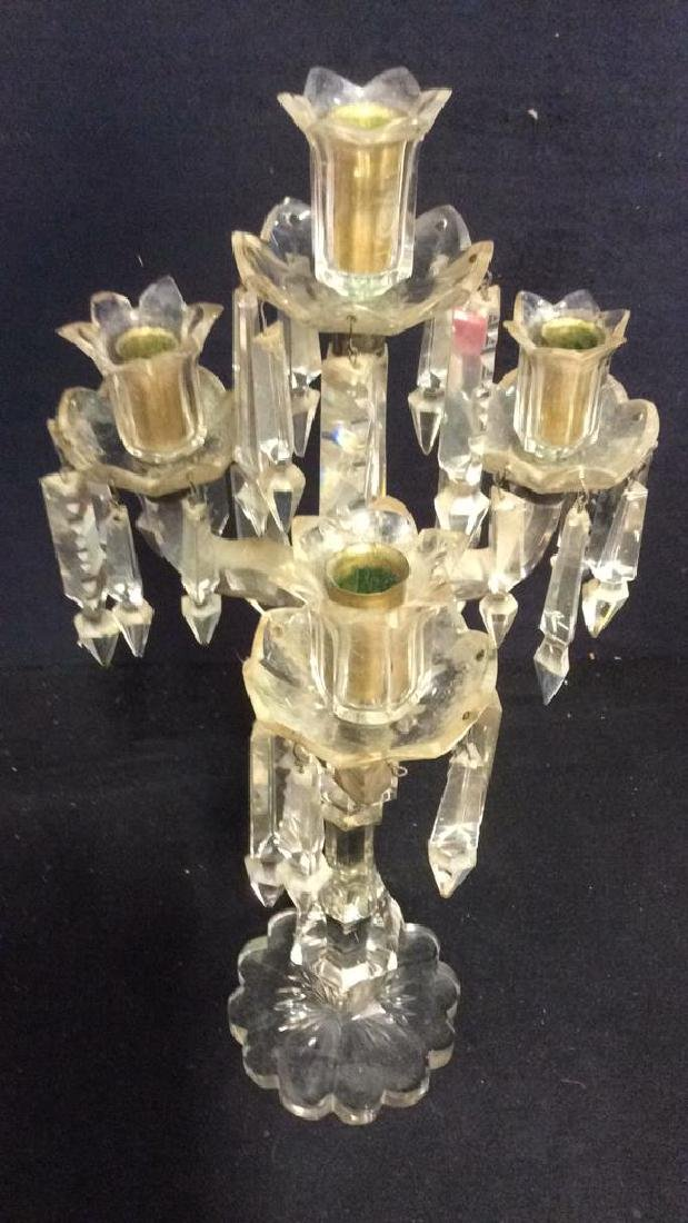 Glass & Crystal 3 Arm Candelabra W Drops - 8