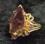 10 K Gold Ring With Amethyst  Citrine