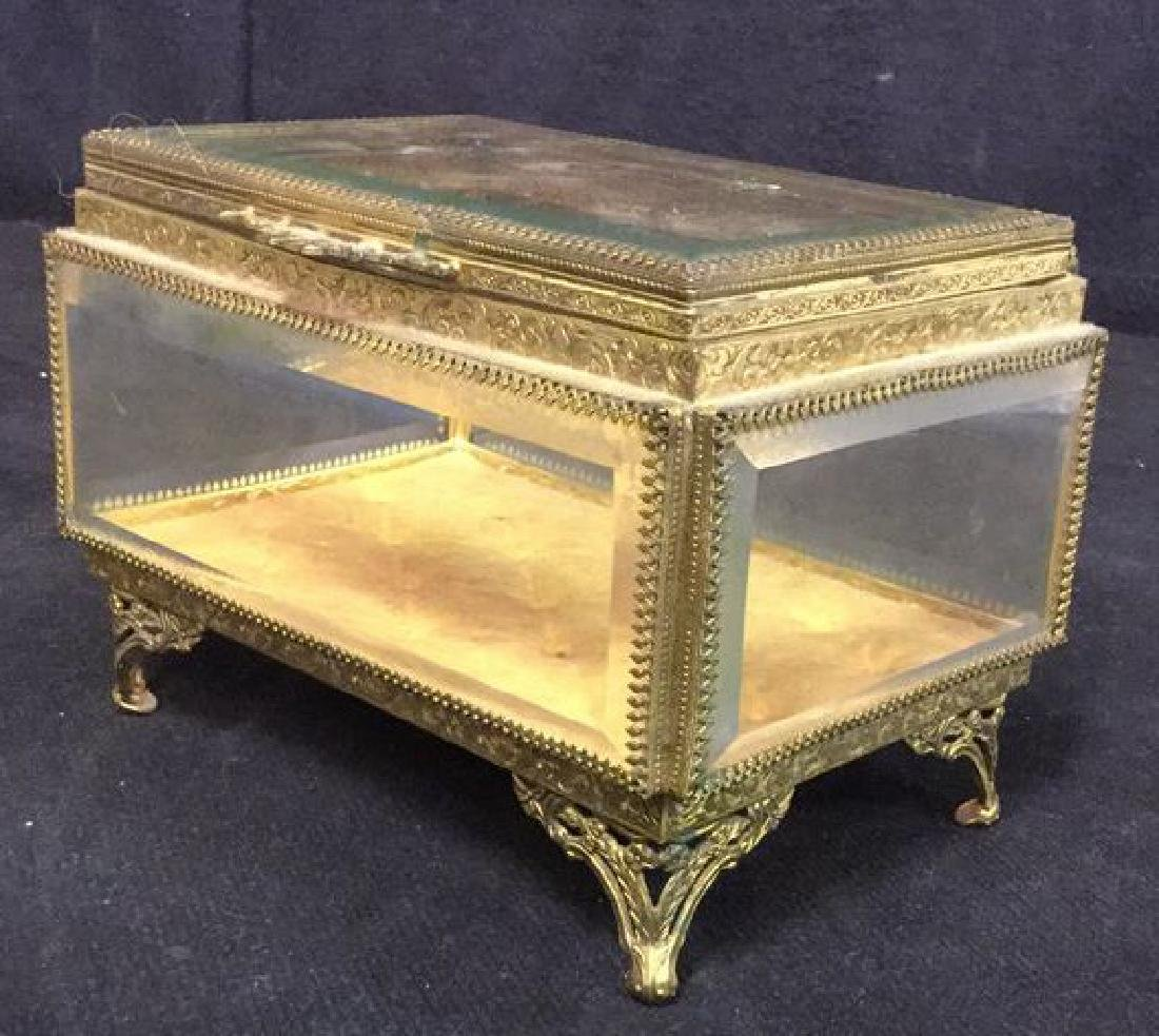Vintage Brass Glass Footed Lidded Box