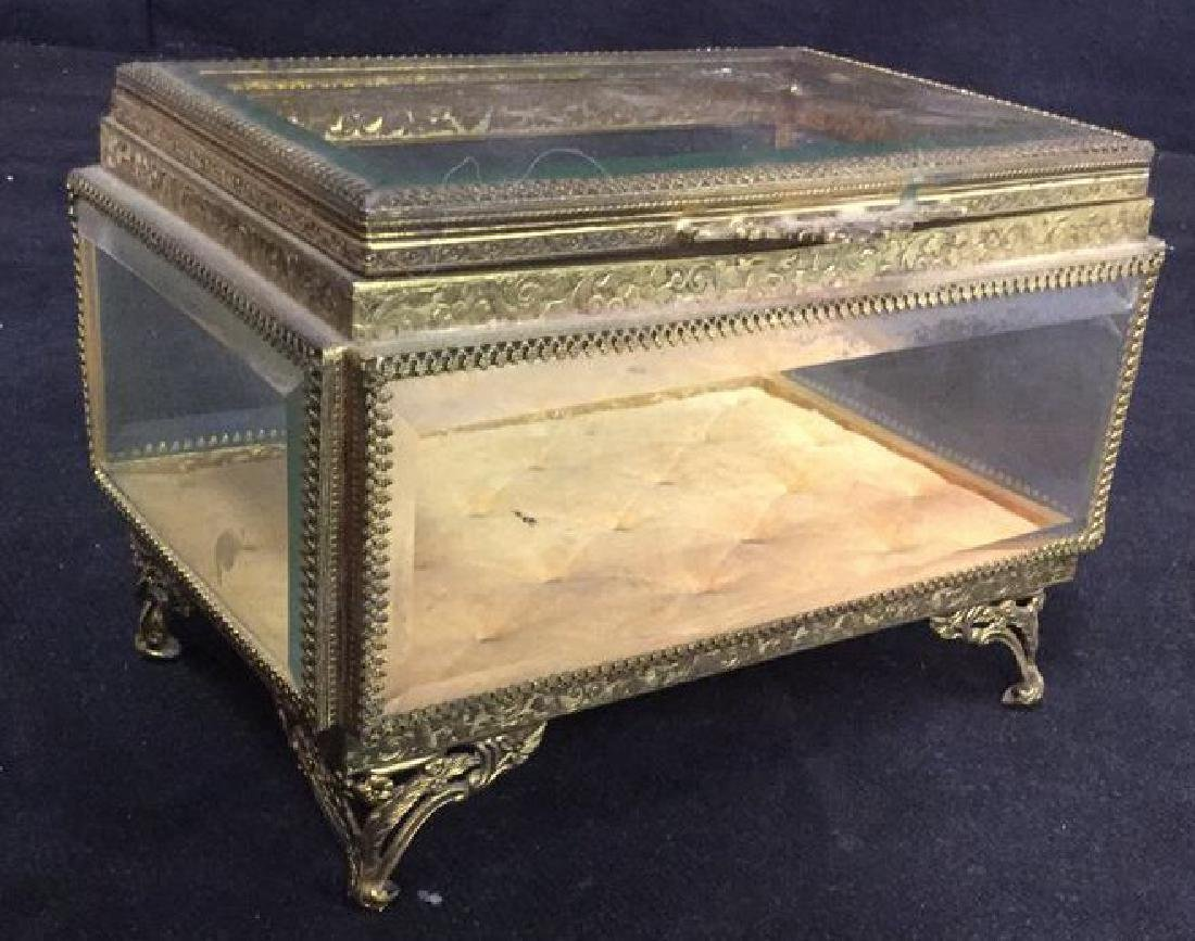 Vintage Brass Glass Footed Lidded Box - 2