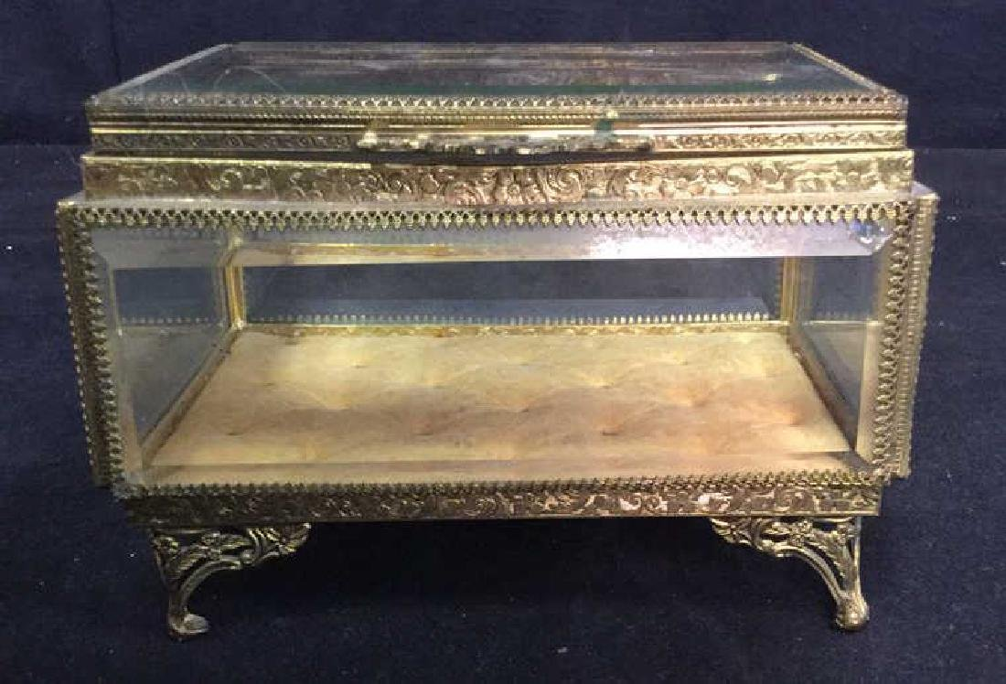 Vintage Brass Glass Footed Lidded Box - 3