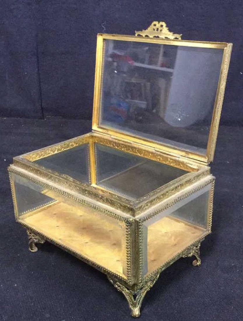 Vintage Brass Glass Footed Lidded Box - 5