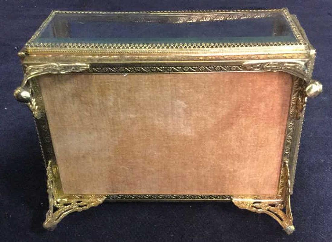 Vintage Brass Glass Footed Lidded Box - 6