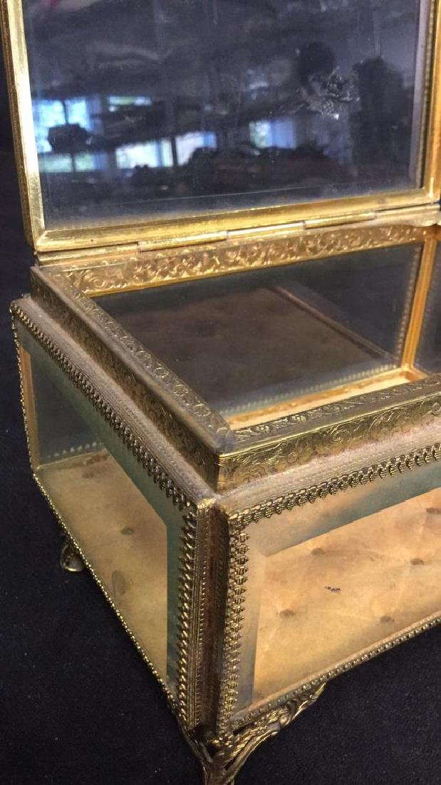 Vintage Brass Glass Footed Lidded Box - 7