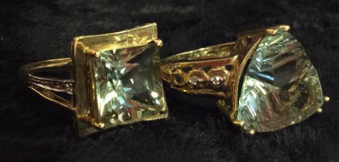 Pair 10 K Rings W Green Semiprecious Gemstones