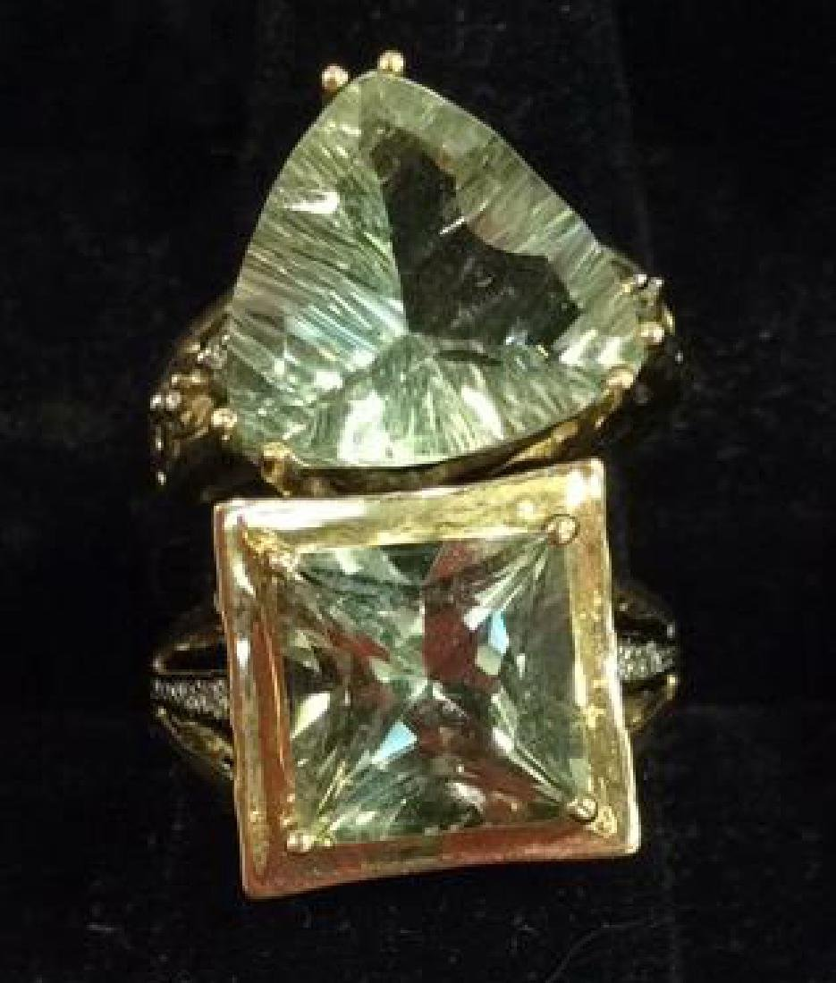Pair 10 K Rings W Green Semiprecious Gemstones - 2