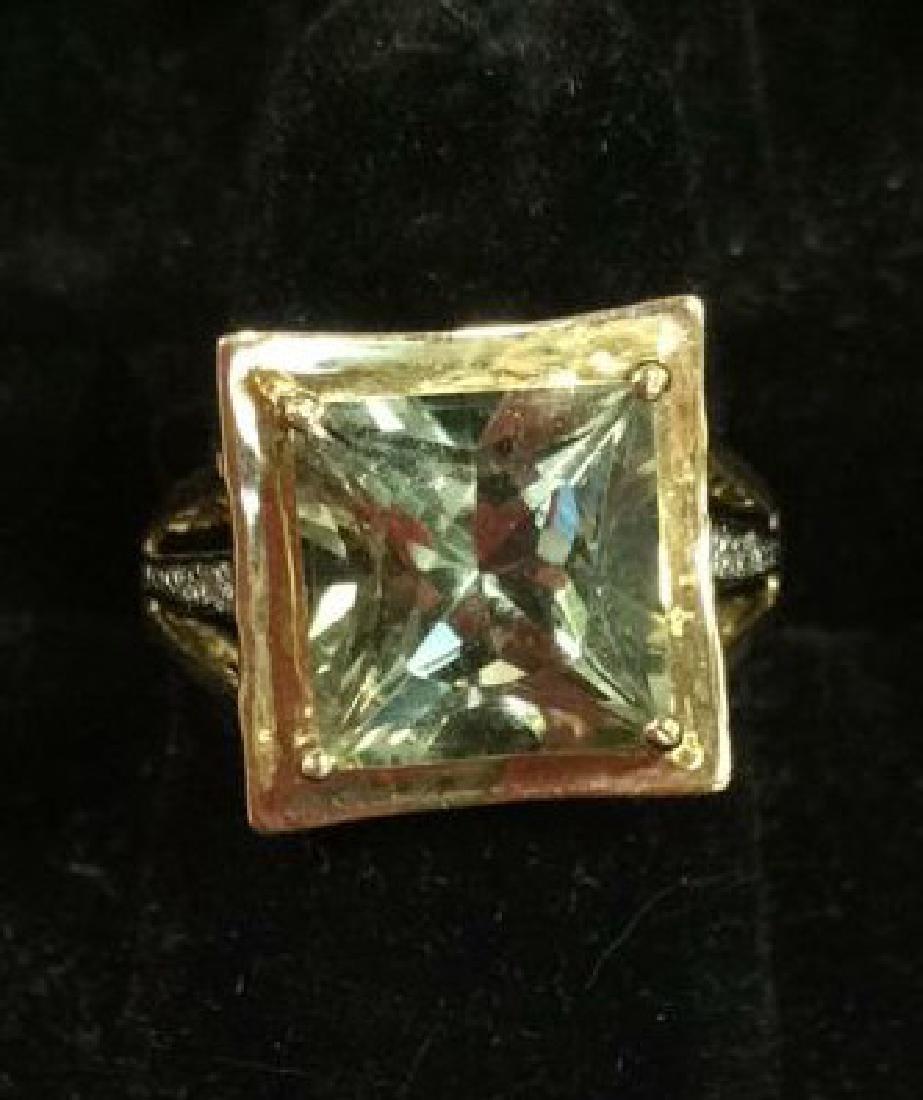 Pair 10 K Rings W Green Semiprecious Gemstones - 3