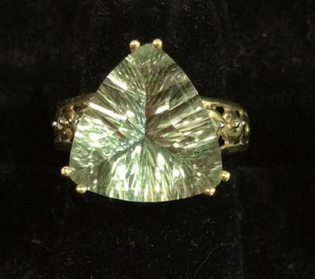 Pair 10 K Rings W Green Semiprecious Gemstones - 5