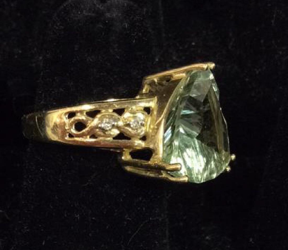 Pair 10 K Rings W Green Semiprecious Gemstones - 6