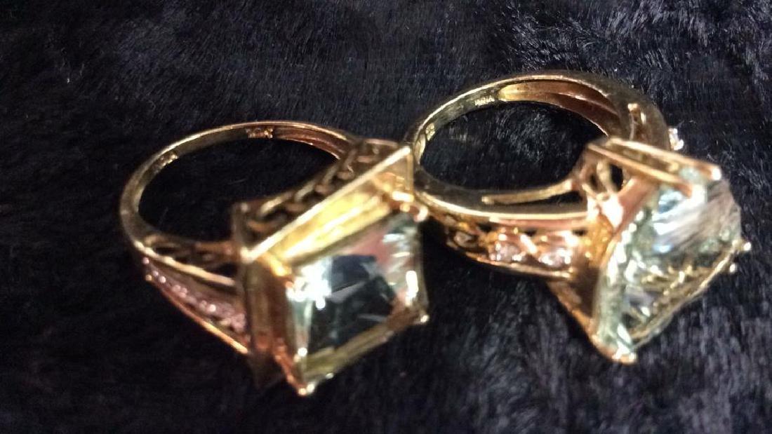 Pair 10 K Rings W Green Semiprecious Gemstones - 7