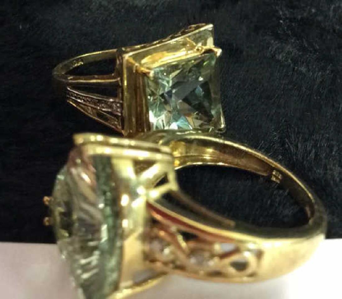 Pair 10 K Rings W Green Semiprecious Gemstones - 8