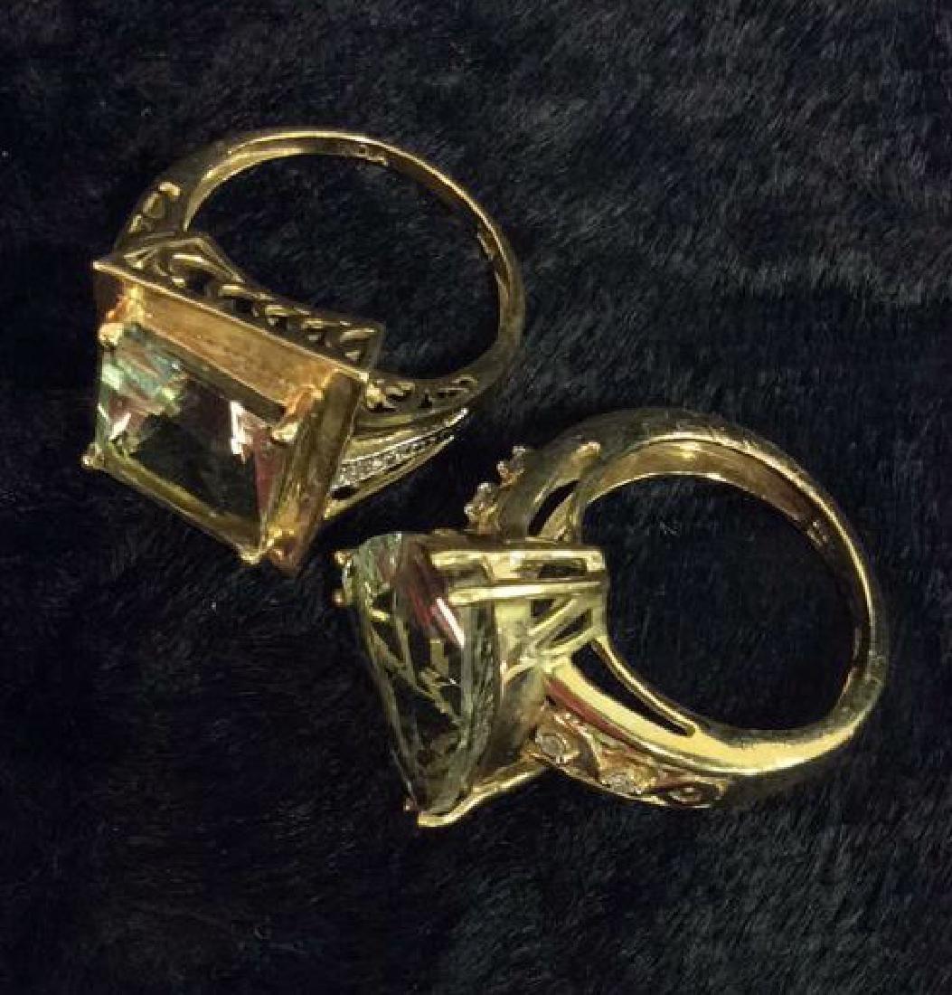 Pair 10 K Rings W Green Semiprecious Gemstones - 9
