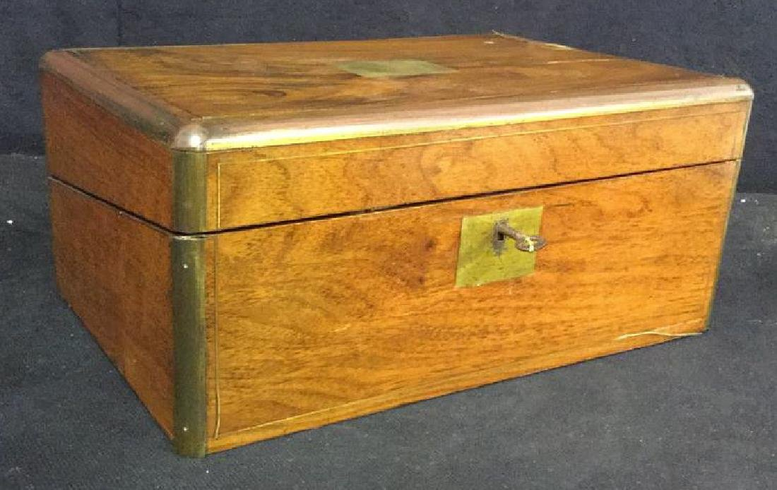 Antique Wood Brass English Lap Desk - 2