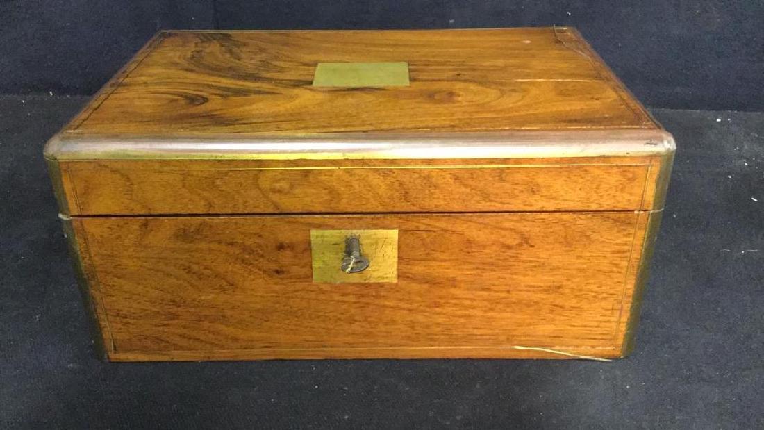 Antique Wood Brass English Lap Desk - 3