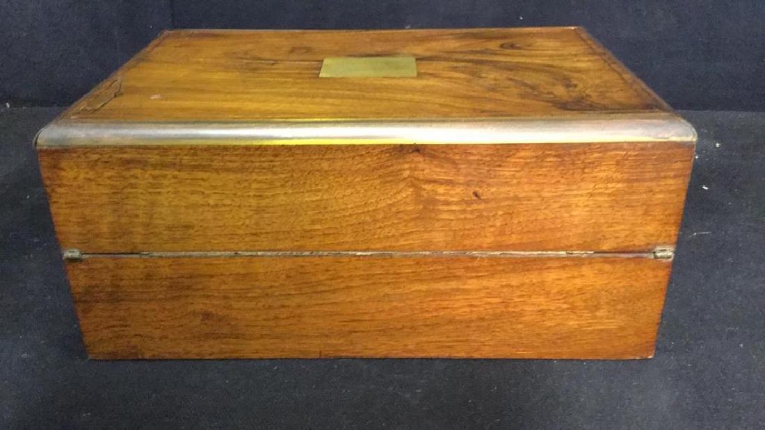 Antique Wood Brass English Lap Desk - 5