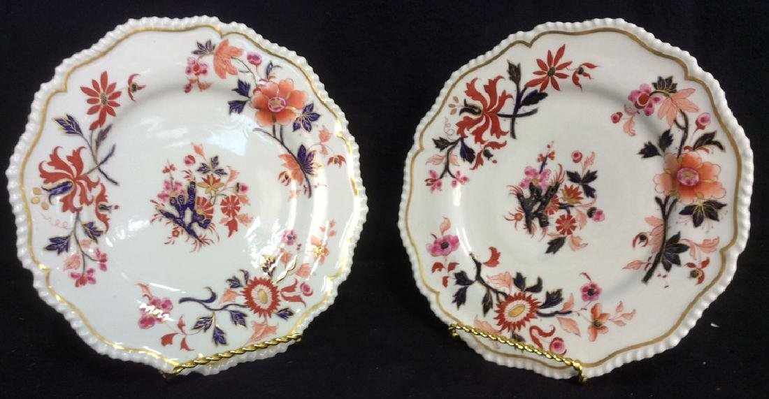 Pair FBB Floral Detailed Porcelain Plates - 2