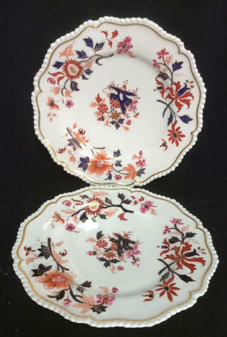 Pair FBB Floral Detailed Porcelain Plates - 9