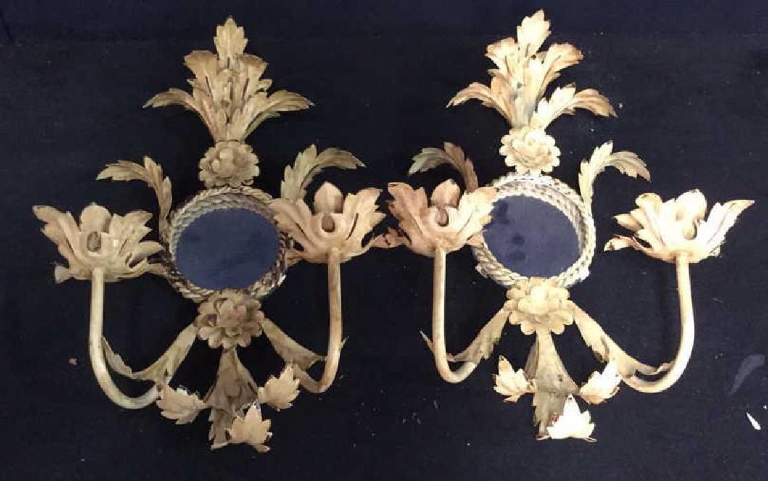 Pair Tole Metal Candle Mirror Sconces