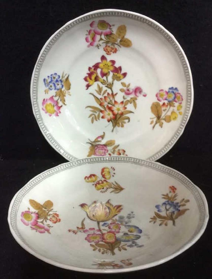 Lot 2 MINTON Floral Detailed Porcelain Plates - 2