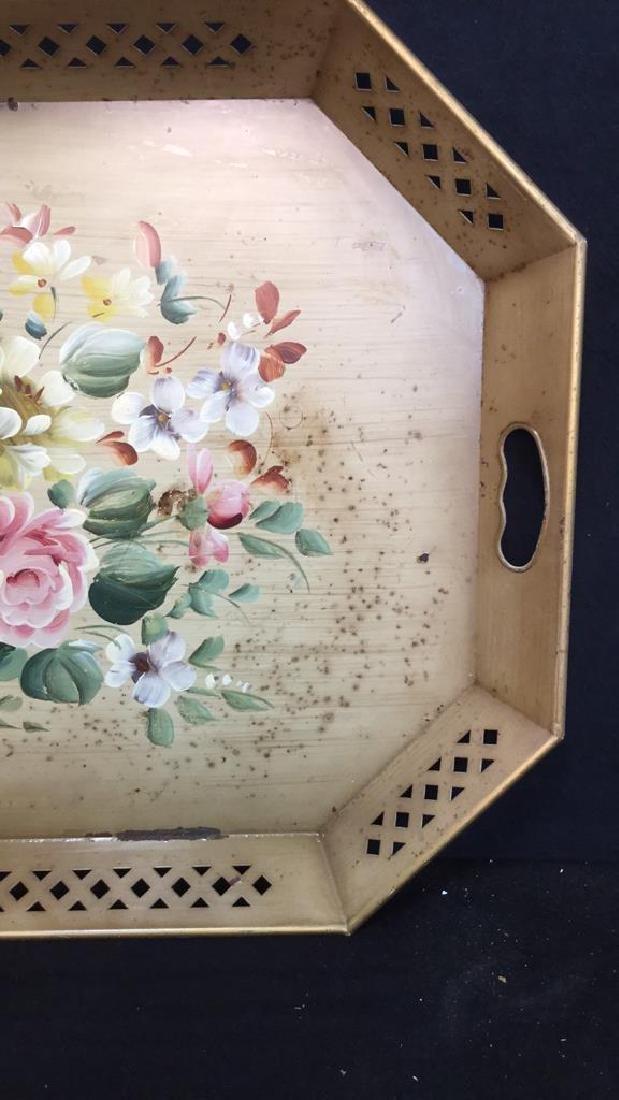 VINTAGE hand Painted Metal tray - 5