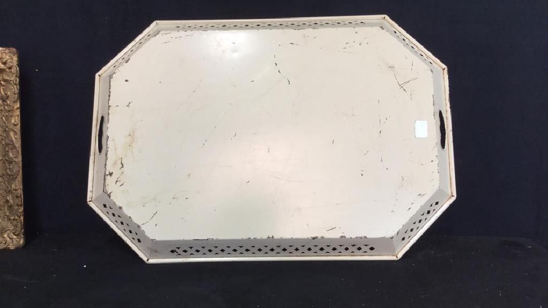 VINTAGE hand Painted Metal tray - 7