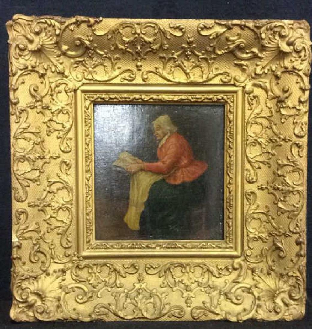 Early 19th Century Oil On Board Of Woman Reading