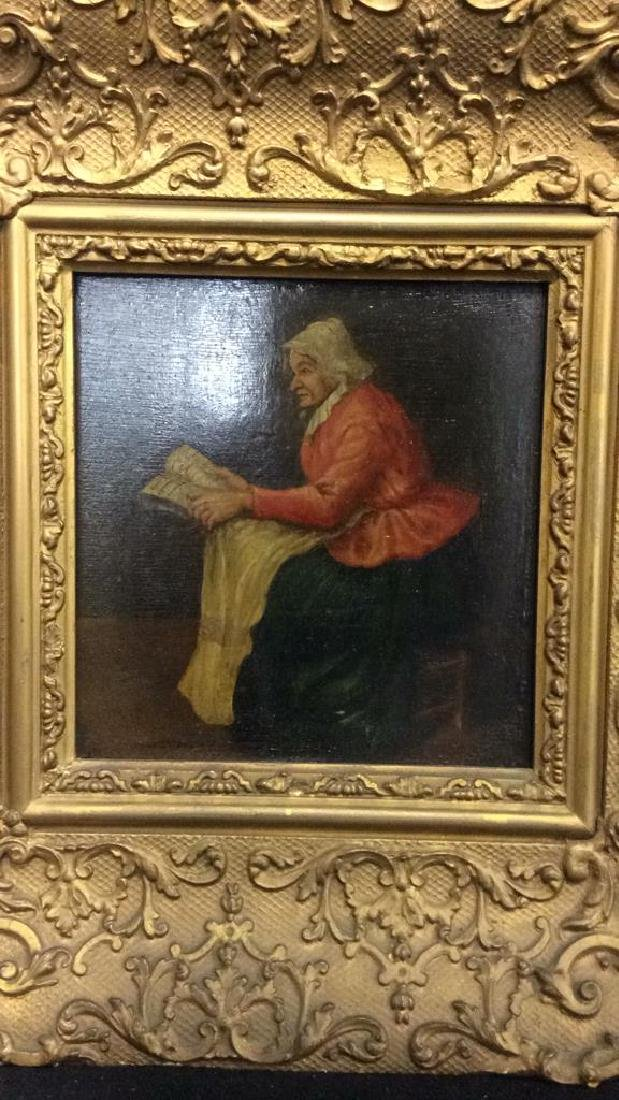 Early 19th Century Oil On Board Of Woman Reading - 2