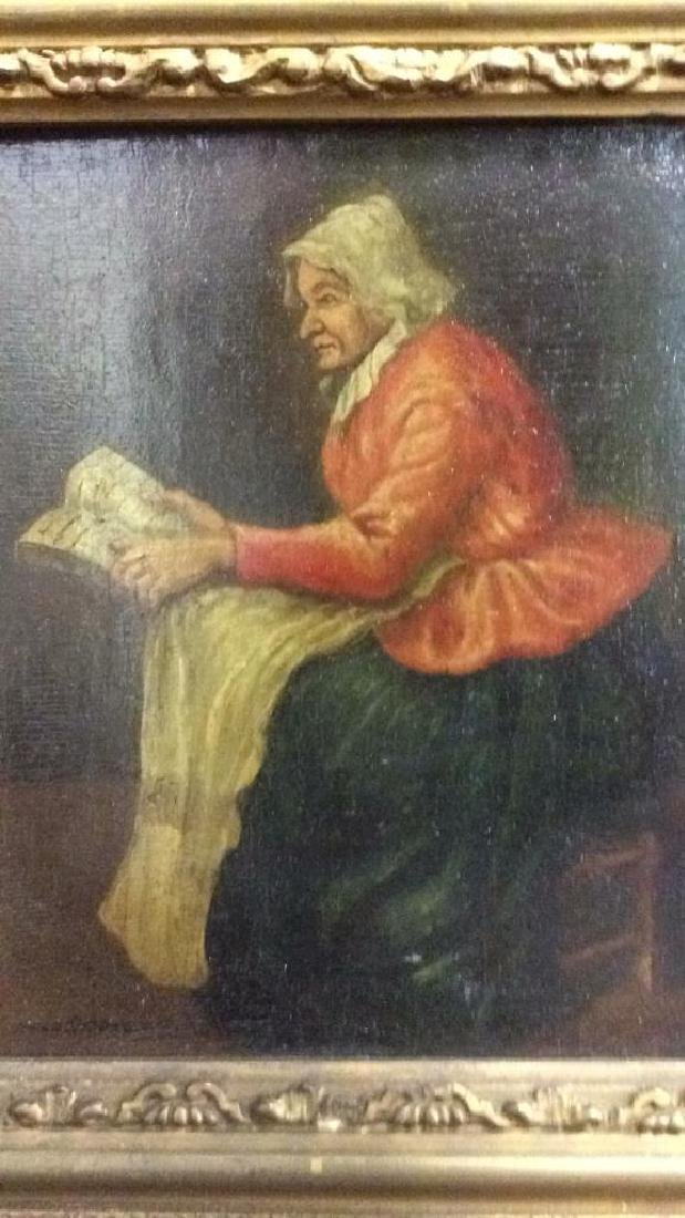 Early 19th Century Oil On Board Of Woman Reading - 3