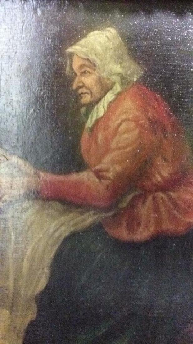 Early 19th Century Oil On Board Of Woman Reading - 4