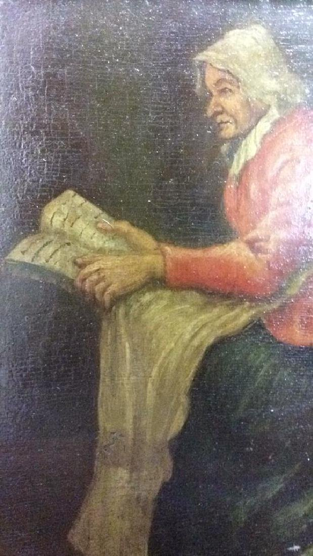 Early 19th Century Oil On Board Of Woman Reading - 5