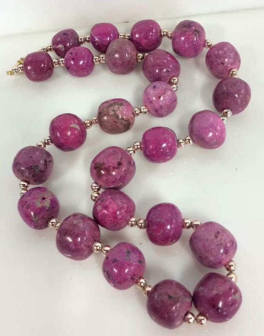 Pink Purple Toned Natural Stone Beaded Necklace