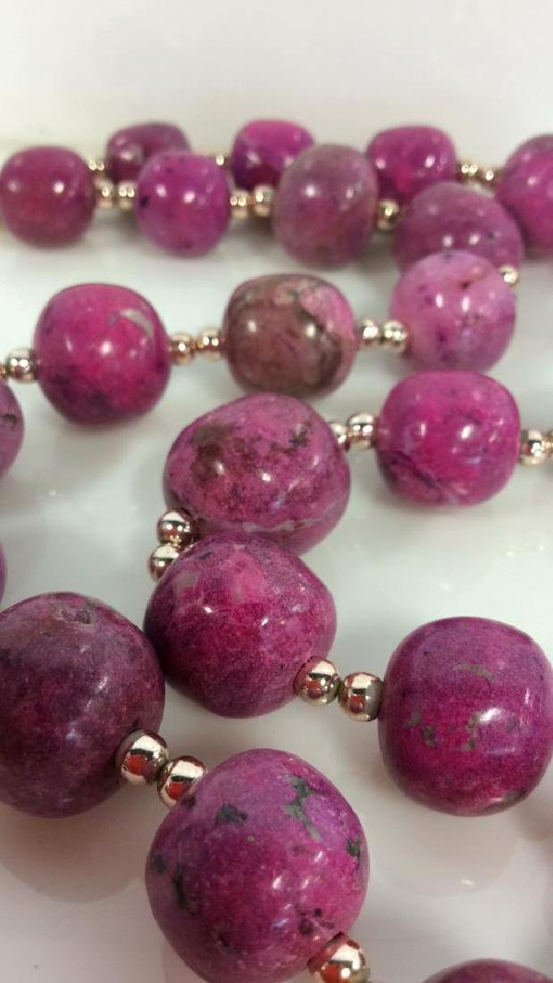 Pink Purple Toned Natural Stone Beaded Necklace - 2