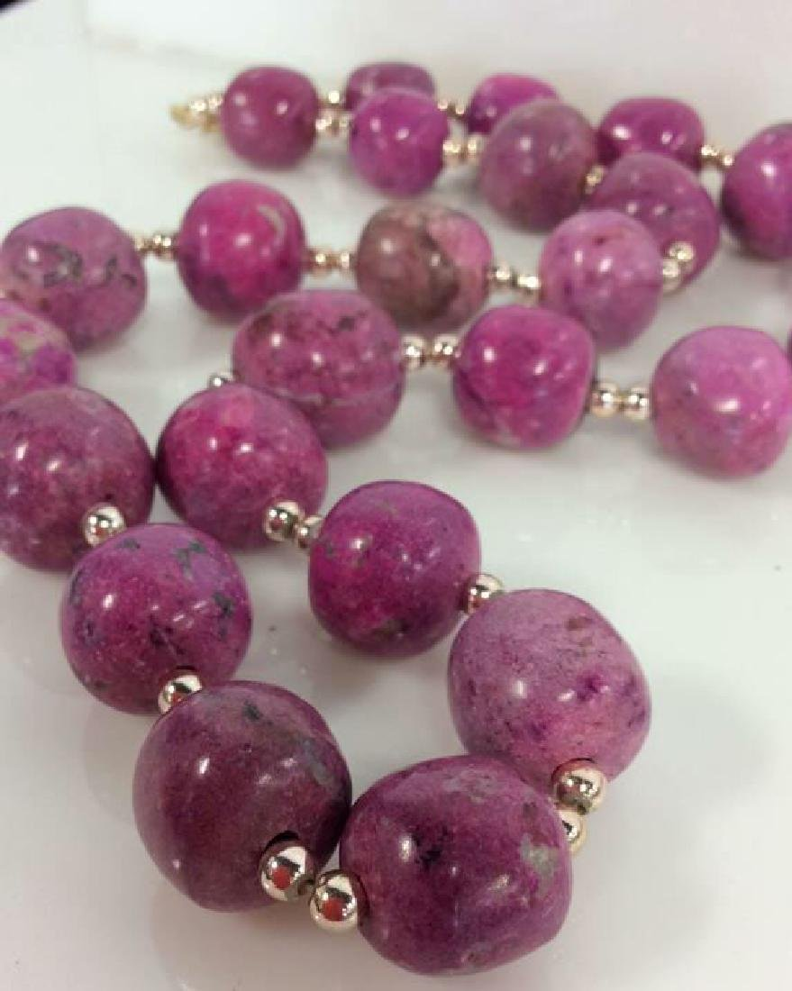 Pink Purple Toned Natural Stone Beaded Necklace - 3
