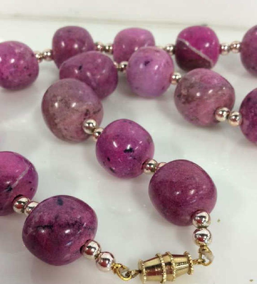 Pink Purple Toned Natural Stone Beaded Necklace - 4