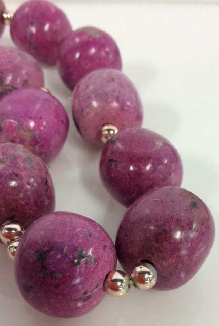 Pink Purple Toned Natural Stone Beaded Necklace - 5