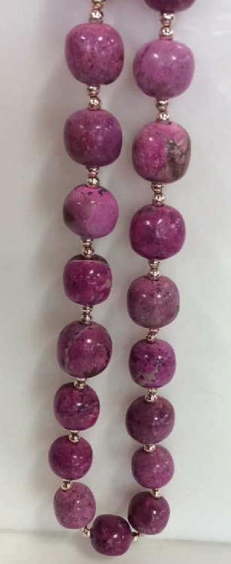 Pink Purple Toned Natural Stone Beaded Necklace - 6