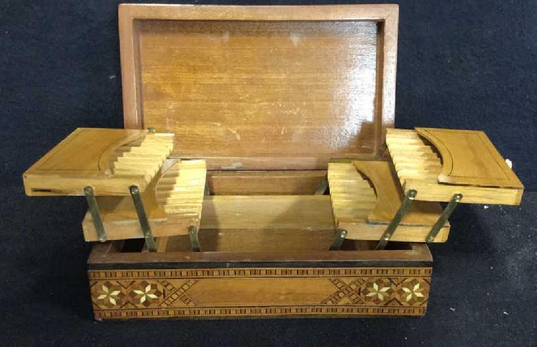 Vintage Inlaid Mechanical Wood Cigarette box