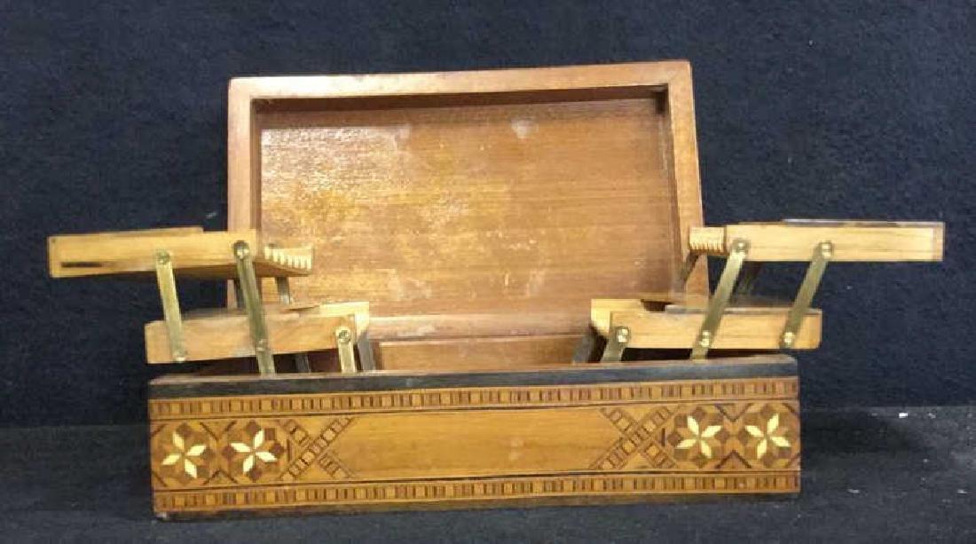 Vintage Inlaid Mechanical Wood Cigarette box - 2