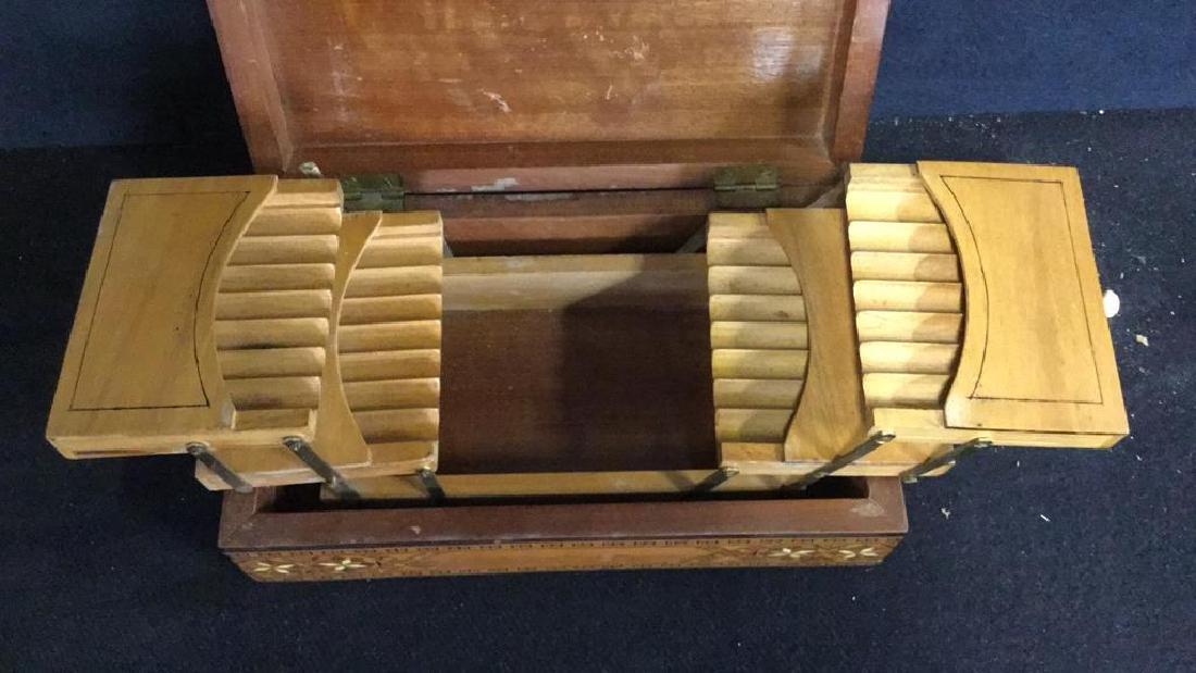 Vintage Inlaid Mechanical Wood Cigarette box - 3
