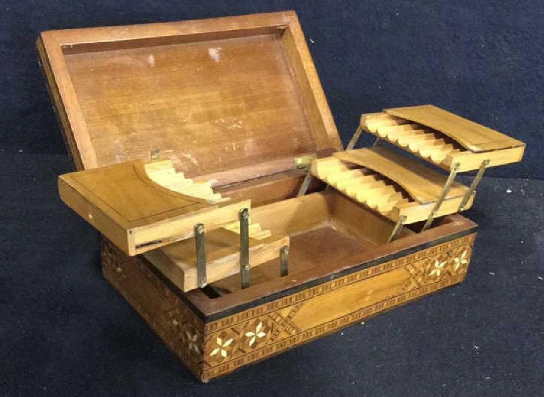 Vintage Inlaid Mechanical Wood Cigarette box - 4