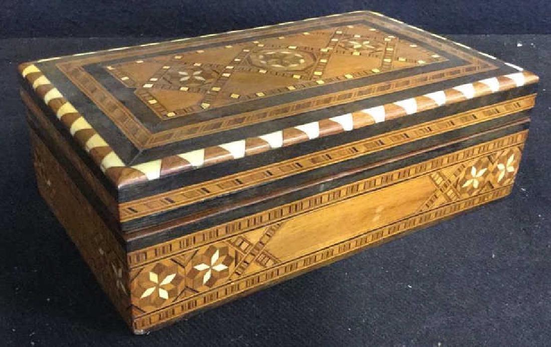 Vintage Inlaid Mechanical Wood Cigarette box - 5