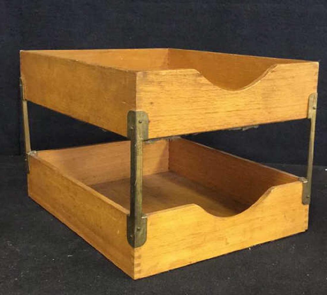 VintageTwo Tiered Oak Brass Desk Organizer