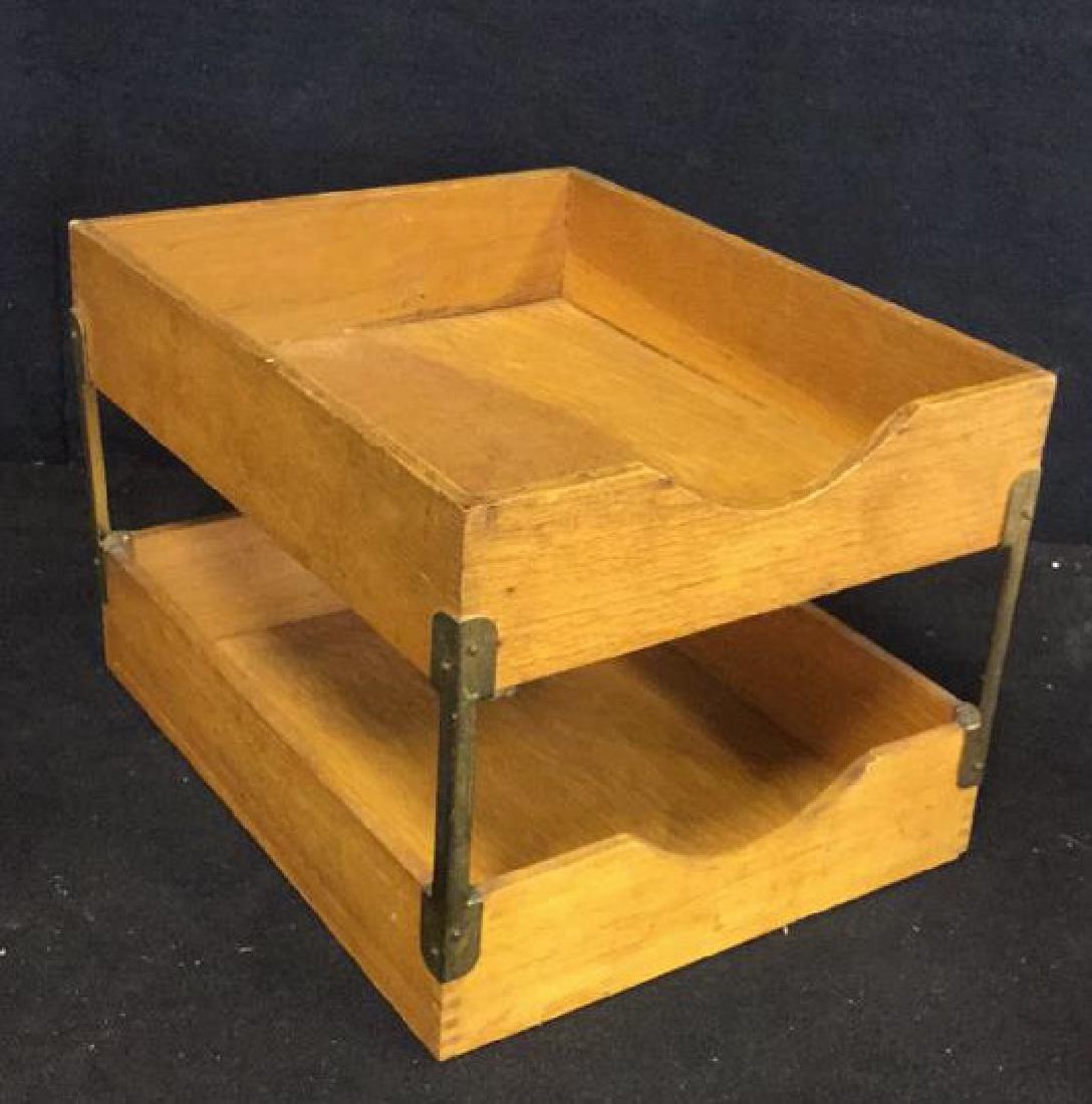 VintageTwo Tiered Oak Brass Desk Organizer - 2