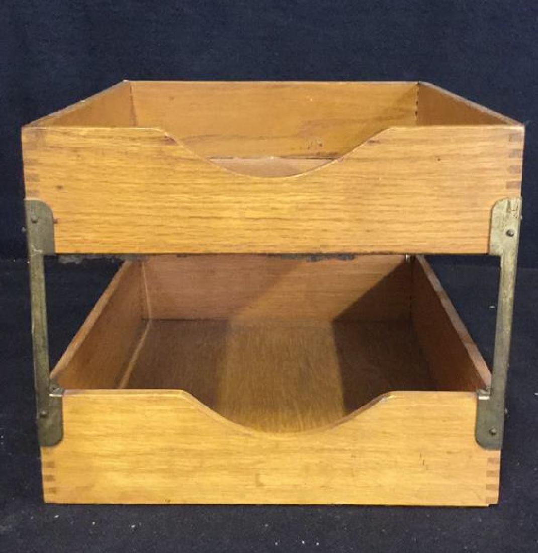 VintageTwo Tiered Oak Brass Desk Organizer - 3