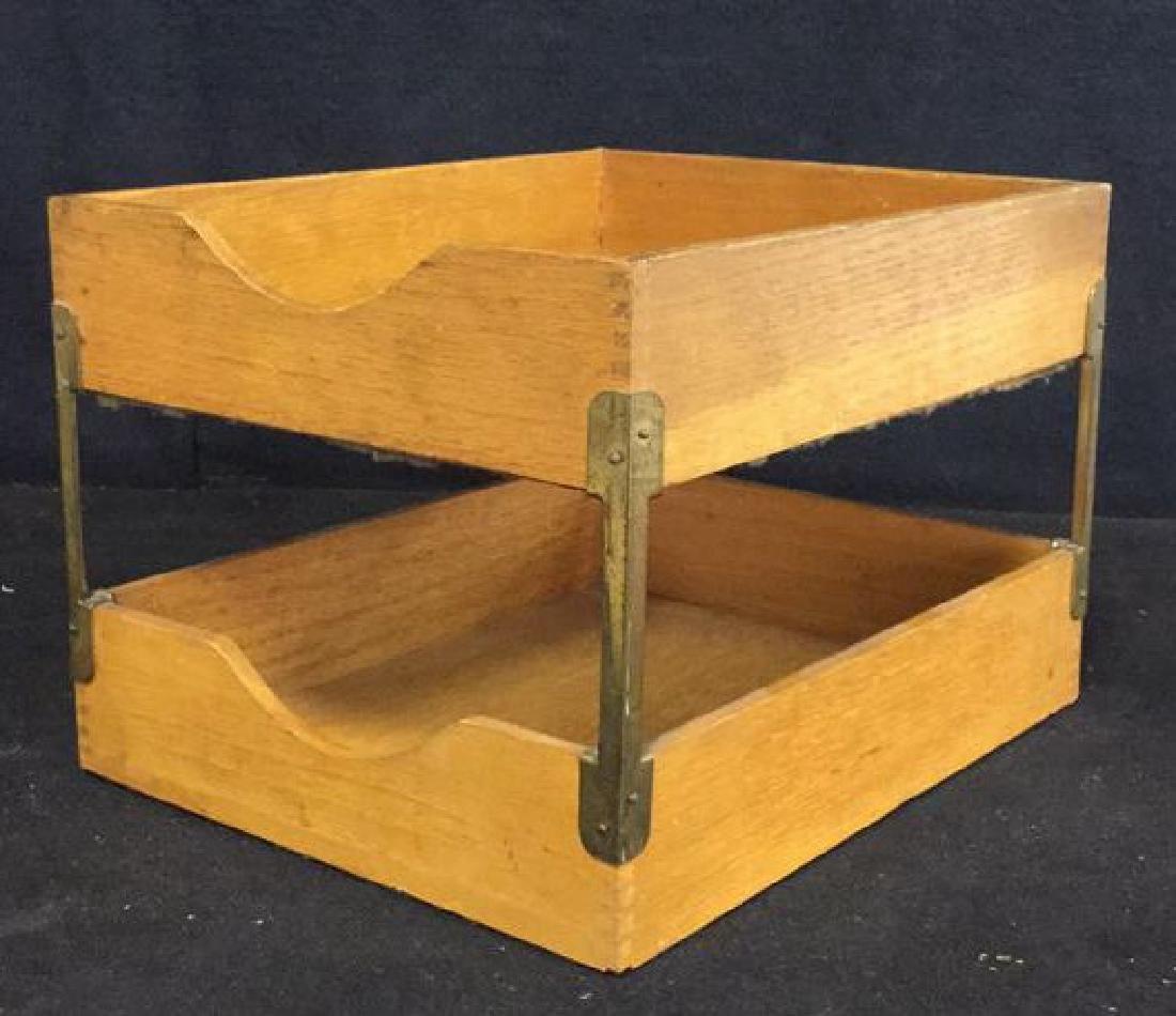 VintageTwo Tiered Oak Brass Desk Organizer - 4